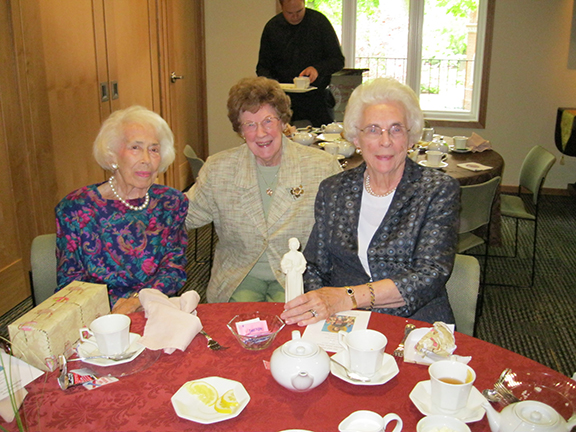 Honorees Margaret Crook, Eileen Maloney and DeDe Morrow at the Tea. Louise MacSherry was unable to attend the event, but was also honored.