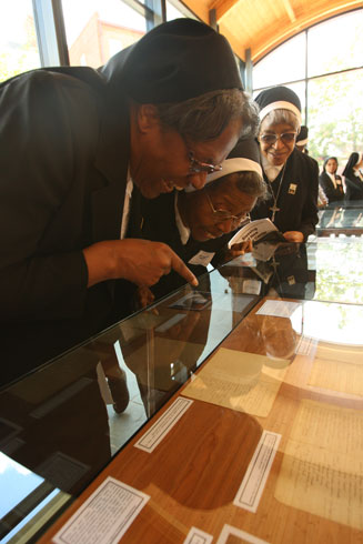 Oblate Sisters View Artifacts at VIsitor Center (Catholic Review Photo)