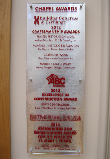 Awards received for Chapel Restoration