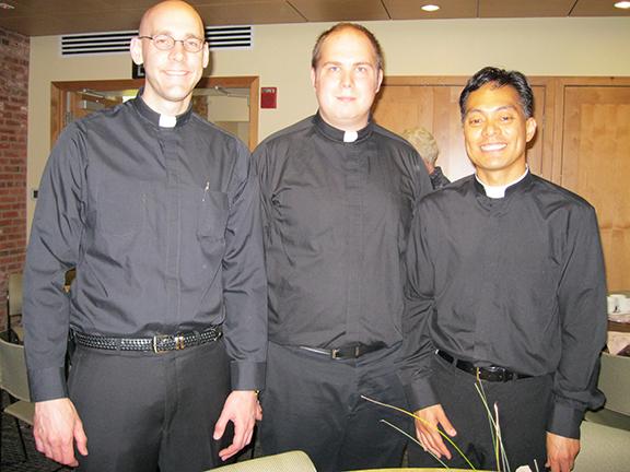 Seminarians James Smith, Nate Brooks, and Edgar Madarang were servers at the tea.