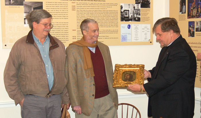 Left to right, Bill Edelen, Peter R. Edelen, and Fr. John C. Kemper, P.S.S., then director of St. Mary's Spiritual Center and Historic Site