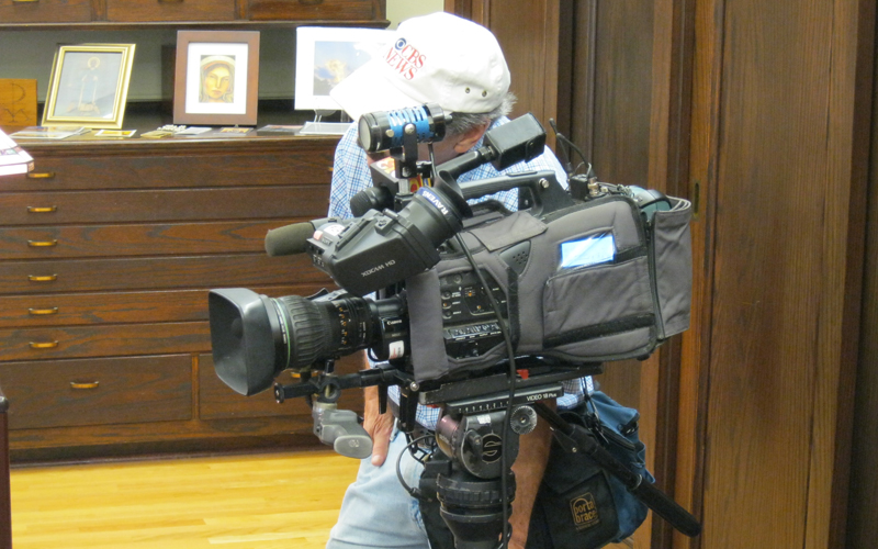 WJZ TV 6 cameraman in Deacon Piazza's office
