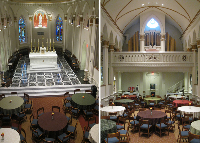 Upper Chapel (Historic Seminary Chapel) showing large group seating for lunch